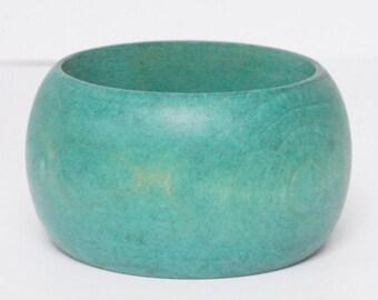 CHUNKY WOOD BRACELET - vintage blue green chunky wood bracelet - lightweight blue green vintage wood bracelet - chunky wood bracelet
