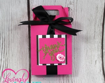 Hot Pink, Glitter Gold, Black & White Stripes, Peonies Favor Gable Boxes - 1 Dozen - Assembly Required