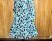 Fantastic VINTAGE Multi Colored FLORAL Print Day Dress