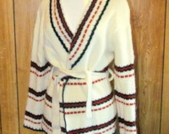 Fabulous COMFY Vintage Acrylic CARDIGAN Sweater w Belt