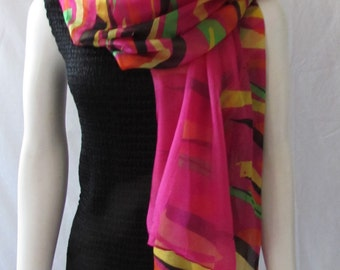 Large Scarf Clivia Designer  New Old Stock Hot Pink Lime green Free form Print silk poly