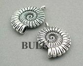 Large Ammonite shell 3D Charms BULK order Antique Silver 5pcs zinc alloy pendant bead 26X36mm CM0766S