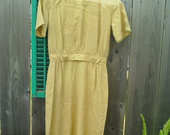 Womens Vintage Mustard Yellow Button Dress
