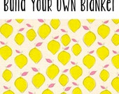 Build Your Own Blanket - Lemon Drop - Baby Girl Stroller Crib Cotton + Minky Blanket Yellow embroidered personalized