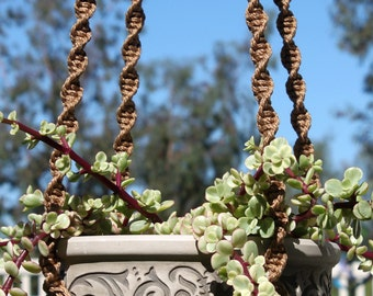 HELIX - Light Brown Handmade Macrame Plant Hanger Holder with Wood Beads - 4mm Braided Poly Cord in CINNAMON