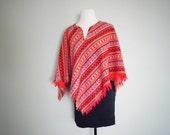 Vintage FISTFUL OF DOLLARS Spaghetti Western Southwestern Fringed Mexican Blanket Poncho