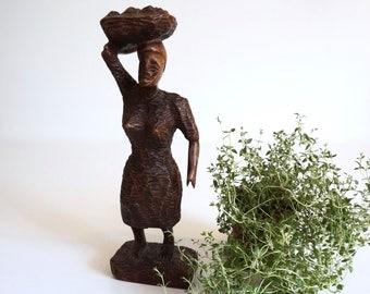 Hand Carved Wooden Figurine Statue Woman with Basket - Floyd Jones Vintage
