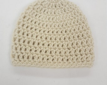 Basic Crochet Cream Newborn Hat Photo Prop Girl Boy Baby Infant Toddler Made to Order - Aran