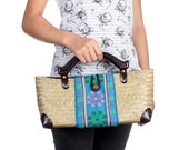 Small Size Rattan Bag Wood Handle With Vintage Hmong Fabric Thailand (BG7088-7C27)