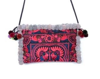 Cross Body Red Bag Pom-Pom Handmade Hmong Embroidered Fabric Thailand (BG811P-RB16)