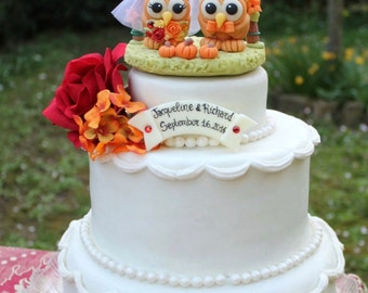 Wedding owl cake topper, love bird cake topper, fall cake topper, custom bride and groom with flower arch, wedding arch