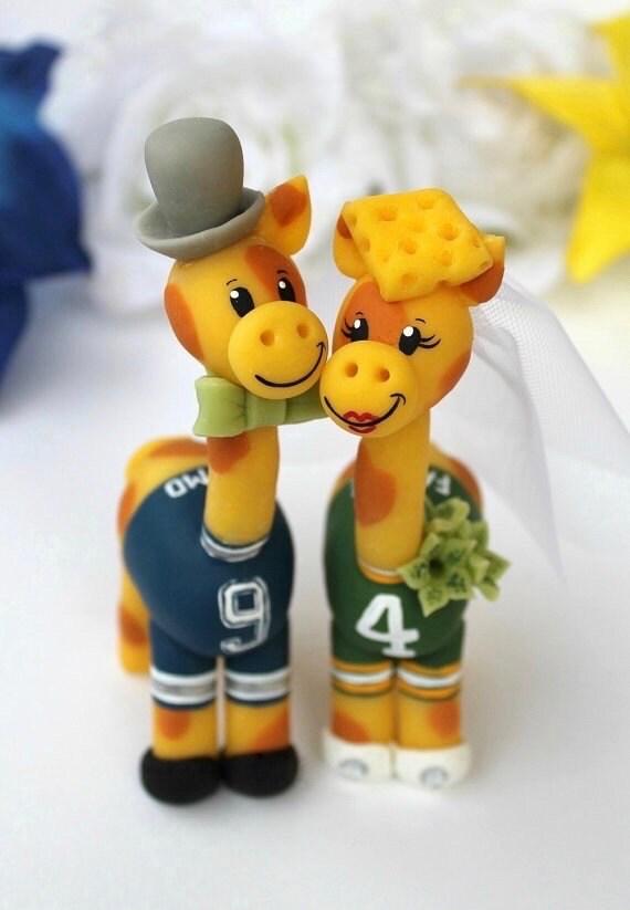 Wedding giraffe cake topper, custom cake topper, football cake topper, football sport wedding, bride groom animals