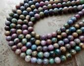8mm Natural Ruby Apatite Round Polished Semi-Precious Beads, Half Strand (IND2C12)