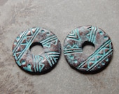 19-20mm Double Sided Ethnic Style Donut - Green Patina Verdigris Greek Mykonos Casting Pendants, 2 PC (INGOM96)
