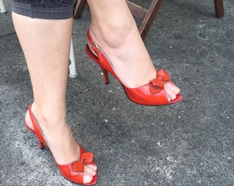1950s Vintage Red Leather Peeptoe Slingback Heels