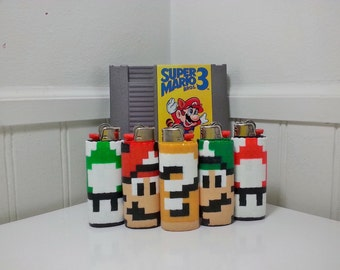 Mario Bros Perler Bead LIGHTER CASE - 1up - luigi - shy guy - item block - mushroom - snifit - toad - nintendo - NES