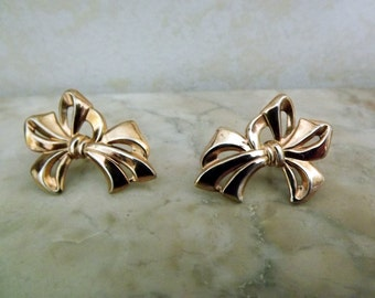1940's Earrings, Gold over Sterling, Bow, Vintage, Vermeil, Sterling, Silverman Bros, dainty, Screw back, upcycle, theater, costume