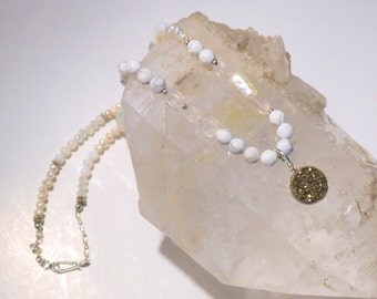 SALE-Golden Druzy, Single-Strand Necklace with White Pearls and Moonstones