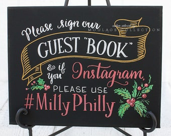 """Guest book sign for wedding, 11"""" x 14"""" canvas, chalkboard style custom ink drawing"""