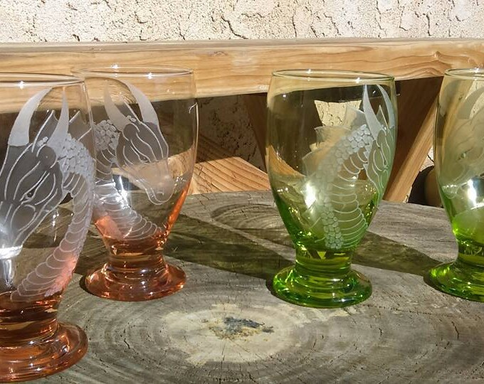 dragon goblets in your choice of pink , green , turquoise, and cobalt blue