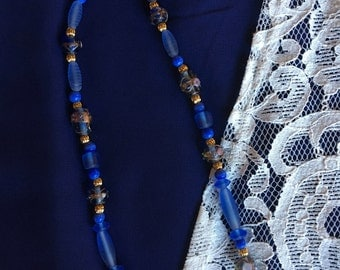Blue Glass and Lampwork Beaded Necklace