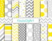 Yellow and Gray Printable Digital Paper Pack with Stars, Chevrons, and Dots for Personal and Small Commercial Use (0192)