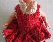 Vintage 1940 Celluloid Doll Marked Horlave Czechoslovakia Red Crochet Dress Handmade