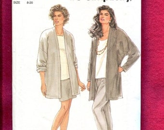 Simplicity 7406 Kimono Sleeve Cardigan Jacket Tapered Skirt & Pants Size 8 to 20 UNCUT