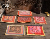 RESERVED FOR AKOSUA   Embroidered Vintage  Set of 6 Tribal Textile By The Hmong Hilltribe