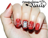 Nature doodle nail wraps. Owl themed nail polish strips. Great fall nail decals.
