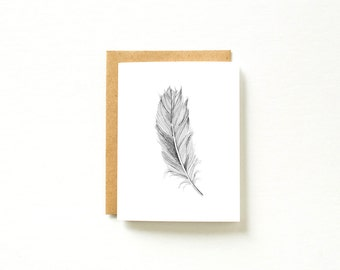 Greeting Card, Feather Card, Neutral Card, Feather Illustration, Paper Anniversary, Paper Card, Card for Boyfriend, Card for Husband