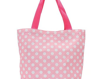 Personalized Pink Polka Dot Tote Bag with White Dots
