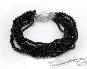Black Multi strand Crystal bracelet black beaded jewelry multi strand bracelet black crystal bracelet sparkly evening bracelet gift for her