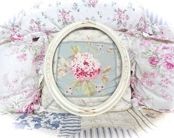 Large Shabby Ornate Floral Rose Swags Oval Wedding Print Multi Photo Picture Frame Distressed Cottage Chic Winter White READY TO SHIP