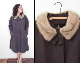 Grey BOW Coat Sable Fur Collar 1950s Peerless Winter Dress 3/4 Sleeve Size M / L
