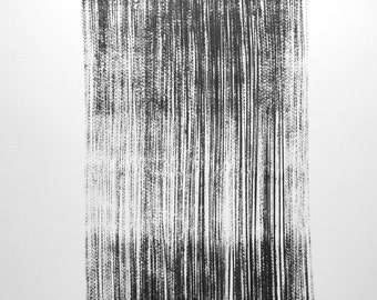 "14 x 14 Original Hand Painted Modern Abstract Black and White Ink Painting "" Ligne 1442"""