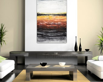 Large original abstract acrylic painting 24 x 36 contemporary art red modern acrylic abstract painting by L.Beiboer - ready to hang
