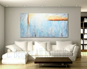 """Original 72"""" large painting abstract art 6ft huge white blue gray modern painting by L.Beiboer FREE shipping"""