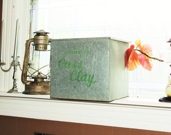 Vintage Metal Milk Delivery Box Cass Clay Farmhouse Decor