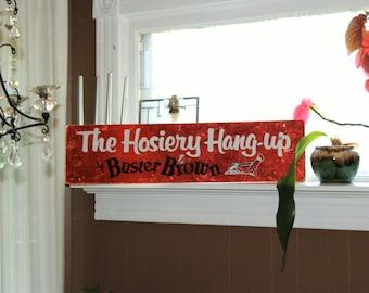 Vintage Buster Brown Sign Hosiery Hang Up 1960s 36 x 9