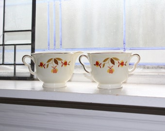 Hall Autumn Leaf Creamer and Sugar Bowl Jewel Tea Vintage 1950s
