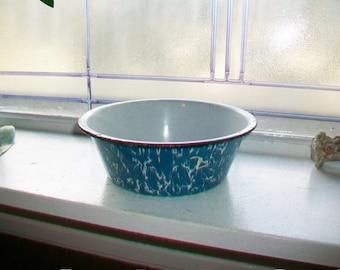 Graniteware Bowl Robins Egg Blue Vintage Enamelware 1930s