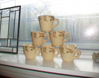 Vintage Western Theme Coffee Cup Restaurant China Caribe Puerto Rico 1 Cup