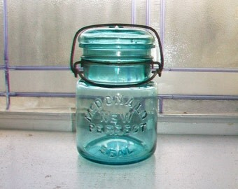 Blue Canning Jar McDonald New Perfect Seal Pint Mason Jar with Glass Lid 1920s