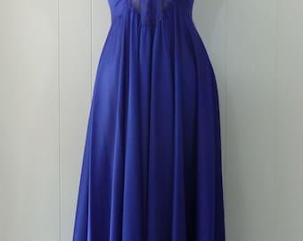 OLGA Lace Bodice Nightgown Full Length Sweep Indigo Blue Nightie M 92270