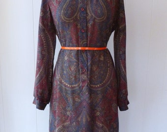 80's Paisley Shirt Dress Sheer Light Knit Secretary Day Dress L XL