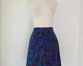 60's Mini Skirt Paisley Blockprint Woven Cotton Linen S