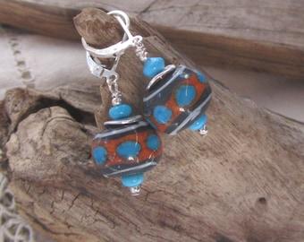 Southwestern Style Turquoise w Reddish Brown Lamp Work Earrings. Artisan Glass on Sterling Lever Backs, Casual, Trendy, Chic Earrings, Gift