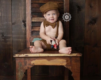Baby Boy, Cake Smash Outfit, Newborn Photo Prop, Baby Boy Photo Prop, Baby Newsboy, Newsboy Outfit, First Birthday Outfit, Photo Outfit