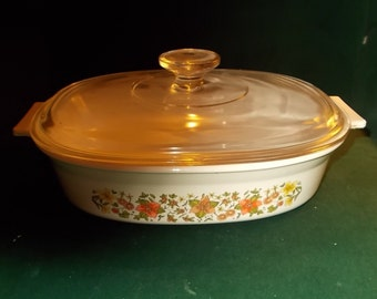 Covered Casserole Corning Indian Summer Oven To Table Bakeware Cookware Baking Dish Retro Kitchen Glassware
